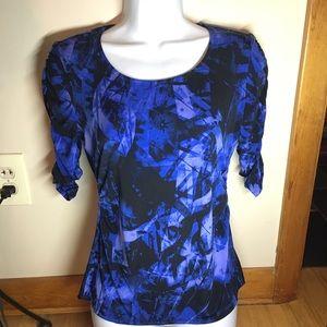 Alfani blouse petite blue black Sz PP